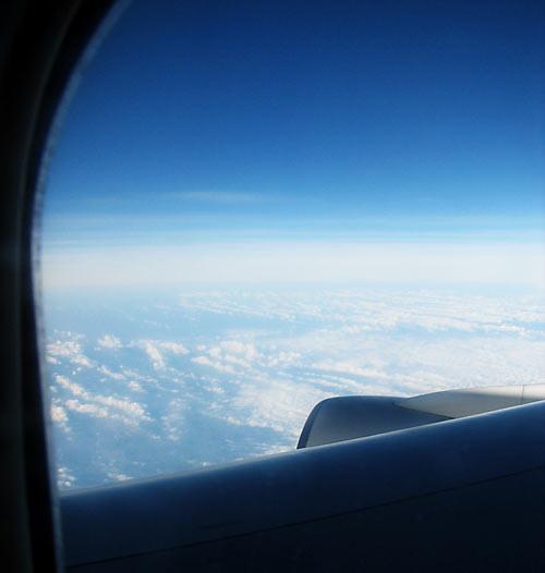 En route pour la Guadeloupe, le ciel à travers le hublot